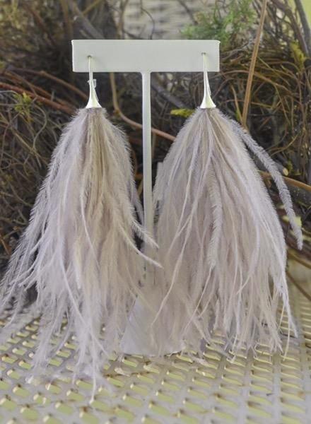 Boa Feather Earrings In Dusty Pink