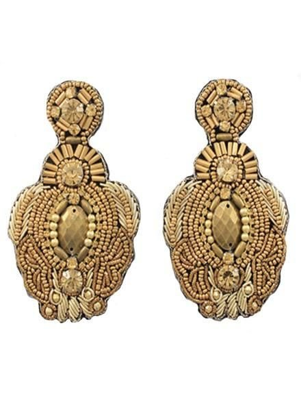 Beaded Throne Earrings in Gold