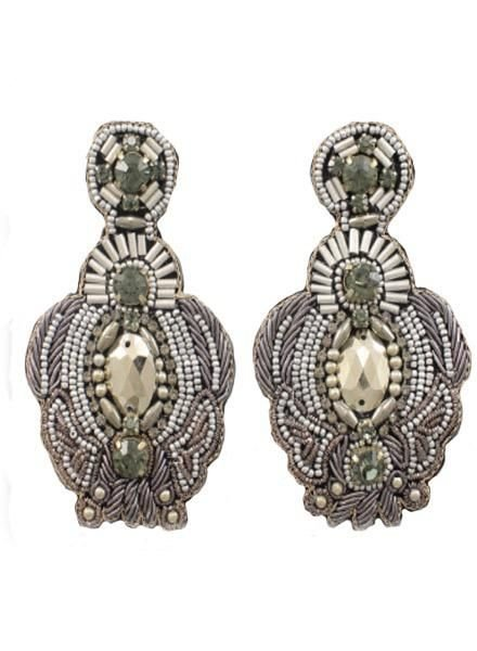 Beaded Throne Earrings in Silver
