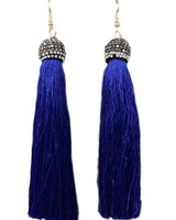 """4"""" Tassel With Pave Cap In Blue"""