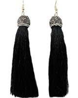 """4"""" Tassel With Pave Cap In Black"""