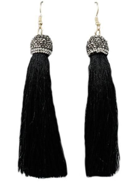 "4"" Tassel With Pave Cap In Black"