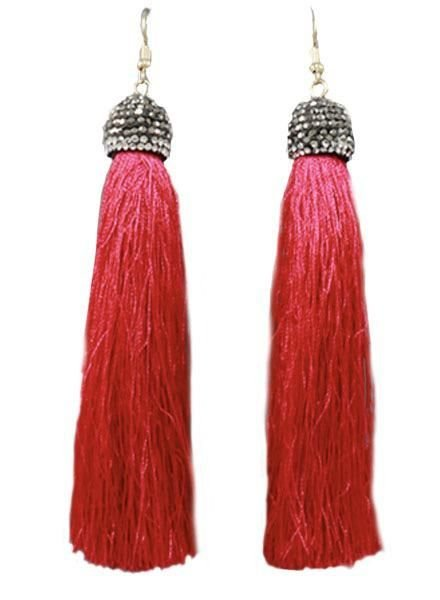 "4"" Tassel With Pave Cap In Red"