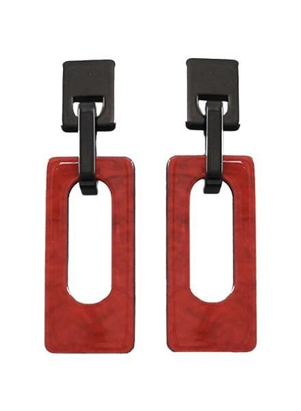 Acrylic Rectangle Earrings In Red & Black