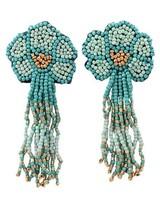 Seed Bead Flower Tassel Earrings In Mint