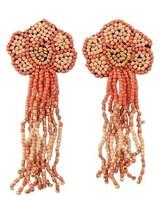 Seed Bead Flower Tassel Earrings In Orange