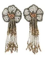 Seed Bead Flower Tassel Earrings In White