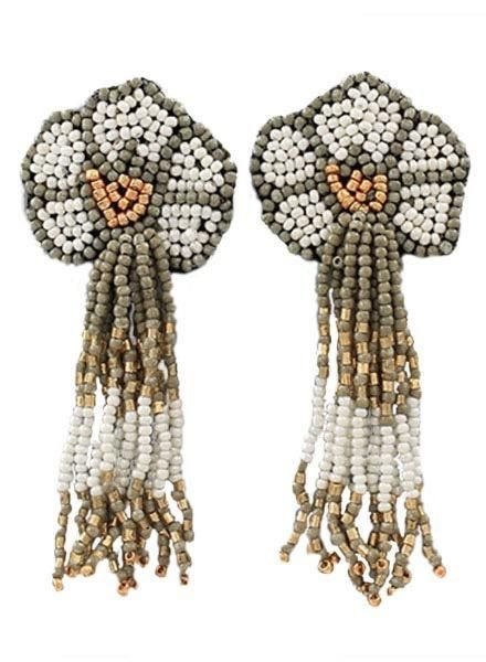 Seed Bead Flower Tassel Earrings In White