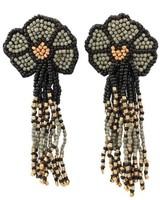 Seed Bead Flower Tassel Earrings In Black