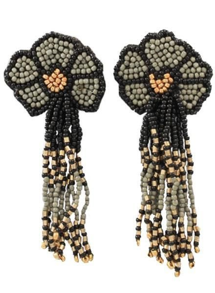 Seed Bead Flower Tassel Earrings In Black