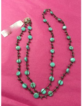 Turquoise Hammered Coin Necklace