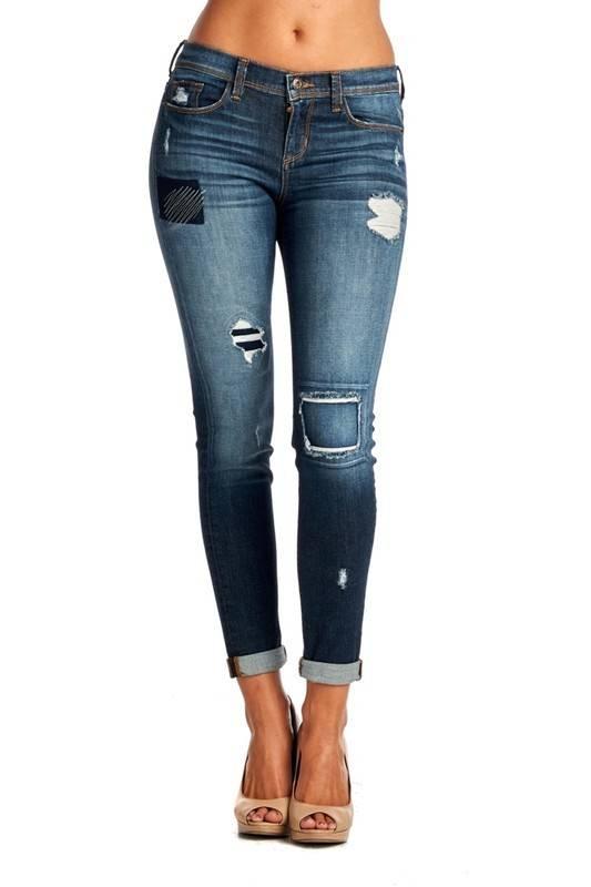 Patchwork Boyfriend Jeans - Casual 2 Dressy