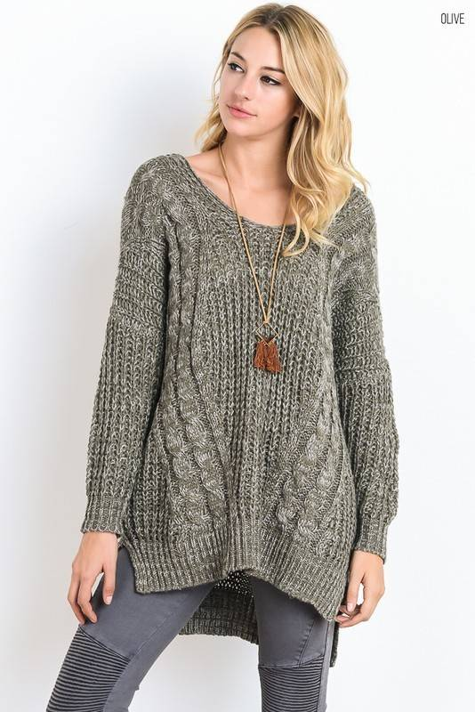 Cross Back Knit Cable Sweater - Casual 2 Dressy
