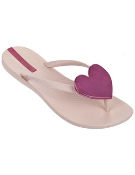 Metallic Heart Flip Flops