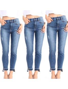 High Rise Uneven Hem Jeans