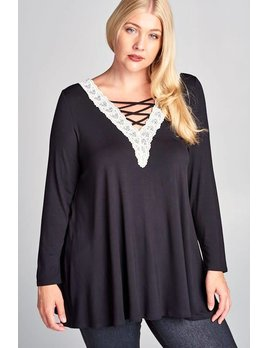 Crisscross Jersey Top with Lace Detail