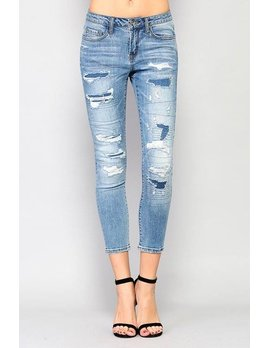Mid Rise Patch & Distressed Ankle Jeans