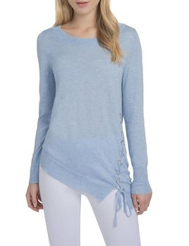 Asymmetrical Lace Up Sleeve Sweater