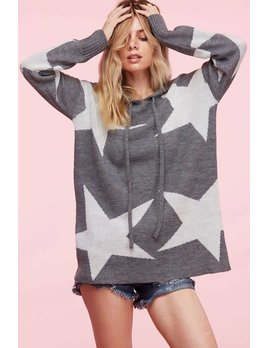 Star Print Knit Hoodie Sweater