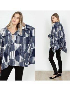 Multi Fabric Poncho