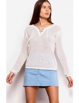 Lace Up Front Chenille Sweater