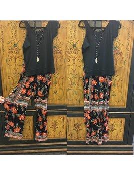 Floral Print Smocked Waist Pants
