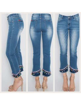 Pom Pom and Bead Hem Straight Leg Jeans