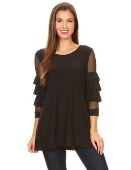 Solid Top with Ruffle Sleeve