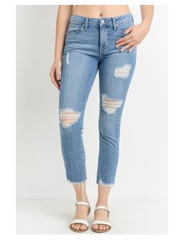 Mid Rise Destroyed Crop Skinny Jeans