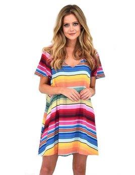 Flutter Sleeve Stripe Dress