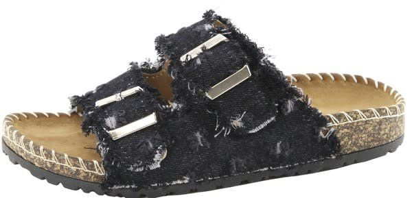 Frayed Denim Slip On Sandals