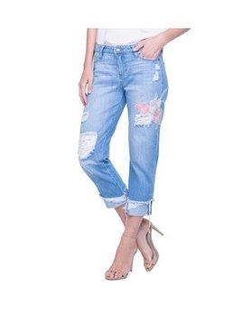 Embroidered Crop Boiyrfriend Jeans