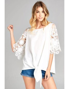 Knit top with Lace Bell Sleeves