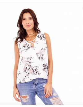 Sleeveless Surplus Top with Crisscross