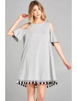 Cold Shoulder Dress with Tassel Hem