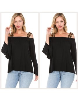 Open Shoulder Top with Bell Sleeves