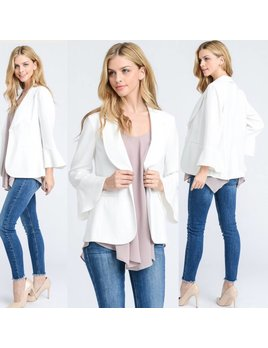 Bell Sleeve Blazer with Back Slits