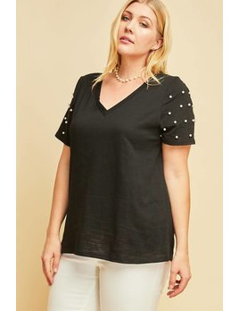Pearl Detail V Neck Tee