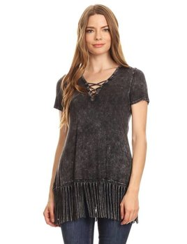 Fringe Hem Top with Crisscross Detail
