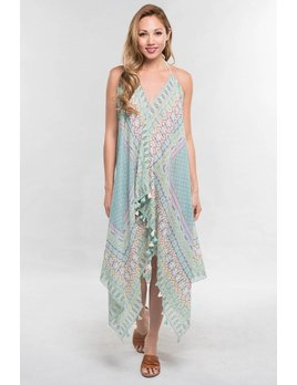 Print and Tassel Hem Dress/Coverup