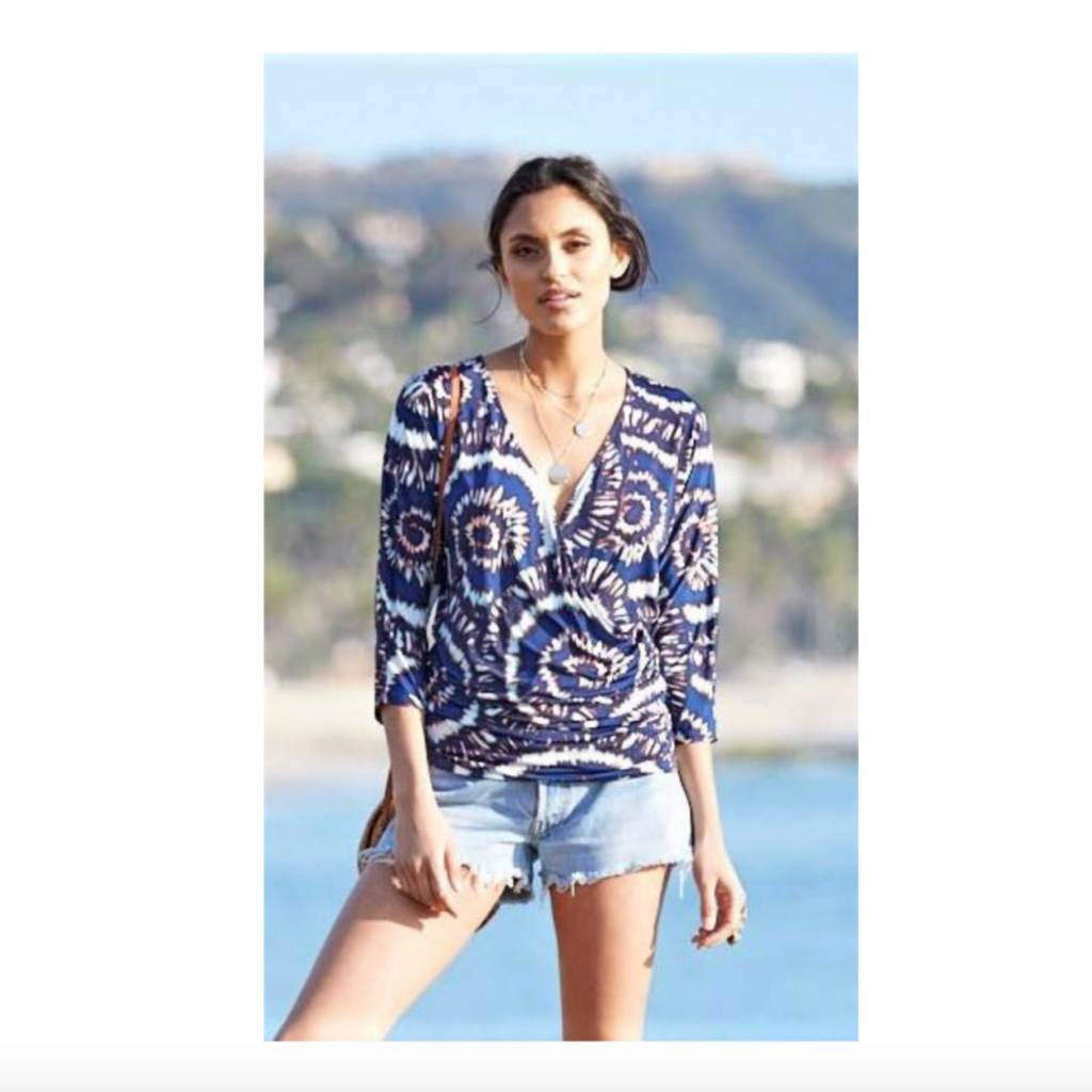3/4 Sleeve Print Wrap Top