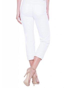 Wide Cuff Capri Jeans With Pearl Hem