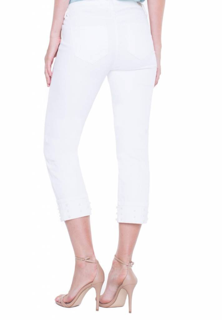 Wide Cuff Capri Jeans With Pearl Hem