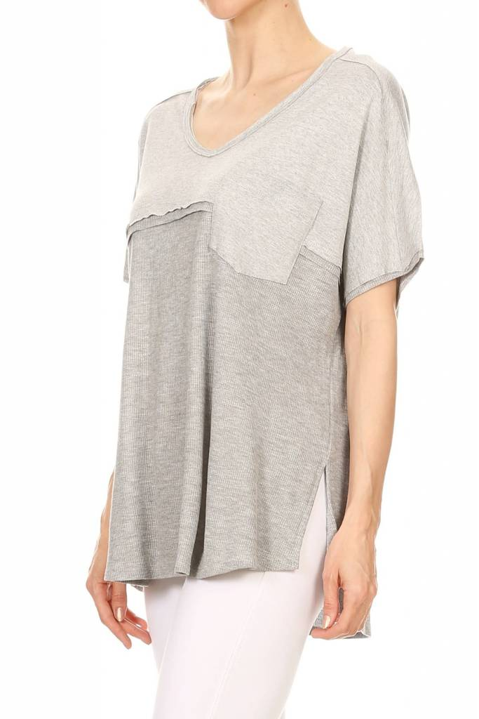 Loose Fitting Heathered Waffle Top