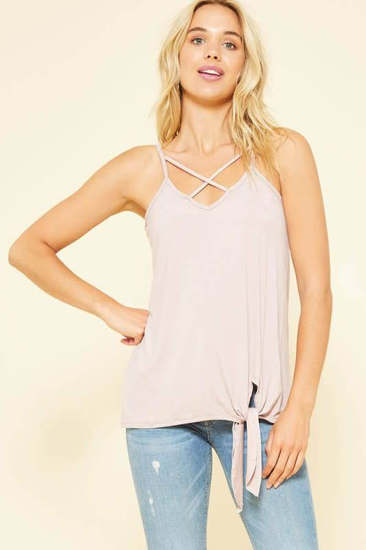 Sleeveless Cami with Tie front & X Strap