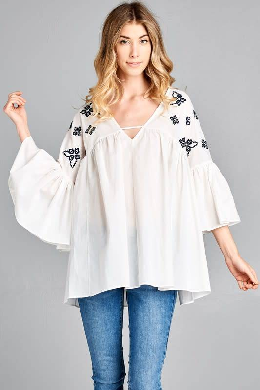 Boho Floral Embroidered Bell Sleeve Top