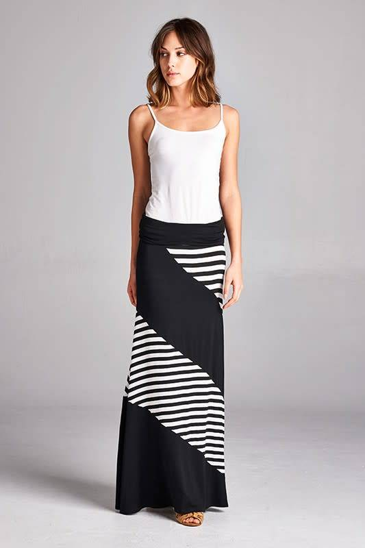 Colorblock Stripe Maxi Skirt
