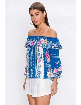 Off Shoulder Bell Sleeve Floral Top
