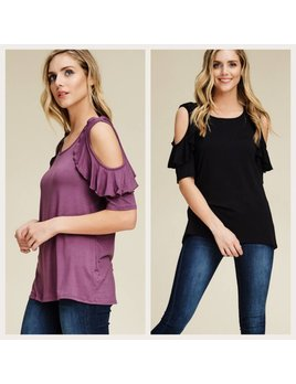 Cold Shoulder Top with Ruffle Detail