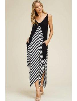 Midi Dress with Stripe Detail